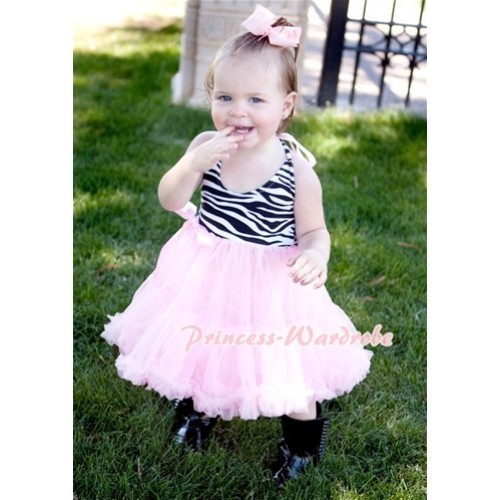 Zebra Print with Light Pink ONE-PIECE Petti Dress with Bow LP01