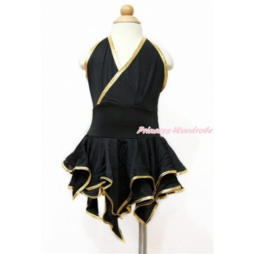 Black Gold Halter Latin Dress Up Dance Dress B263