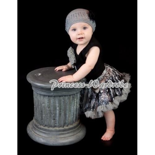 Black Baby Pettitop & Bunch of Grey Rosettes & Grey Ribbon with Grey Snakeskin Baby Pettiskirt NG358