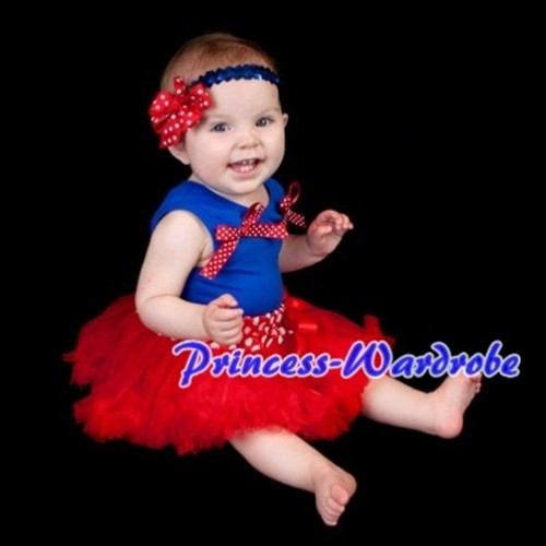 (Snow White Style)Royal Blue Baby Pettitop & Red White Dot Bows with Red Baby Pettiskirt BG32