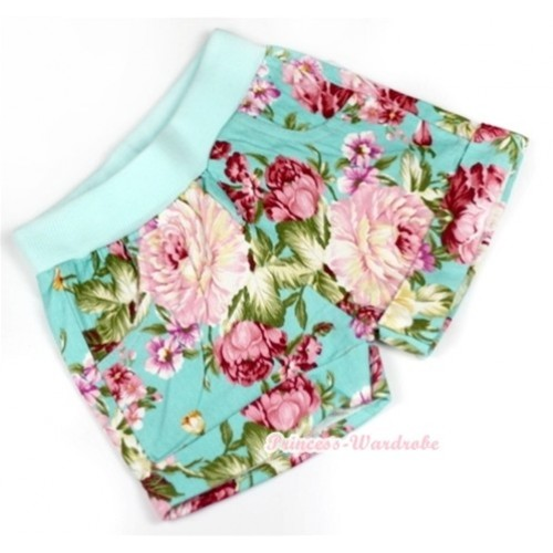 Aqua Blue Peony Pattern Pettishort PS010