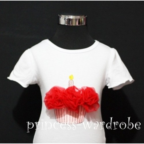 White Birthday Cake Short Sleeves Top with Red Rosettes TS01