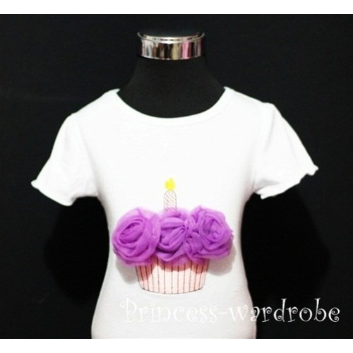 White Birthday Cake Short Sleeves Top with Dark Purple Rosettes TS04