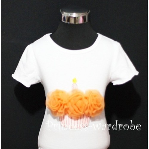 White Birthday Cake Short Sleeves Top with Orange Rosettes TS10