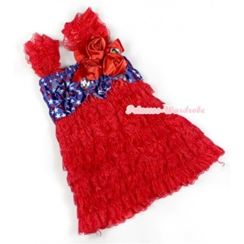 Hot Red Patriotic American Stars Lace Ruffles Layer One Piece Dress With Cap Sleeve With Red Bow & Bunch Of Red Satin Rosettes & Crystal RD005