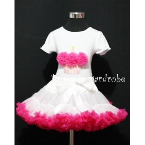 White and Hot Pink Pettiskirt With White Birthday Cake Short Sleeves Top with Hot Pink Rosette SC08