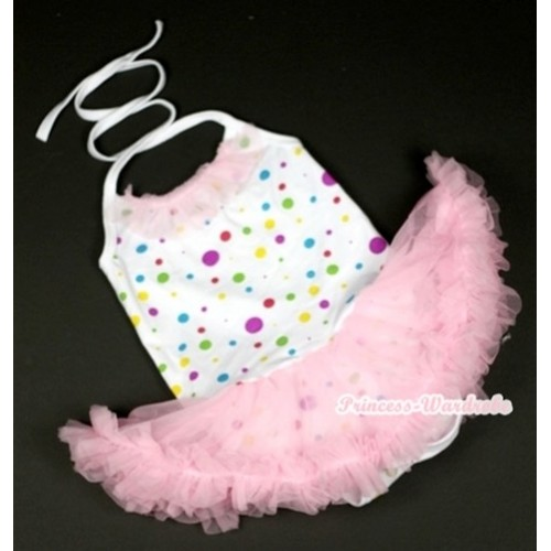 White Rainbow Dots Baby Halter Jumpsuit Light Pink Pettiskirt With Light Pink Chiffon Lacing JS844