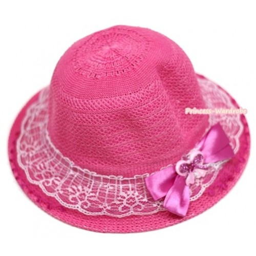 Hot Pink White Lace With Sparkle Bow Summer Beach Straw Hat H693