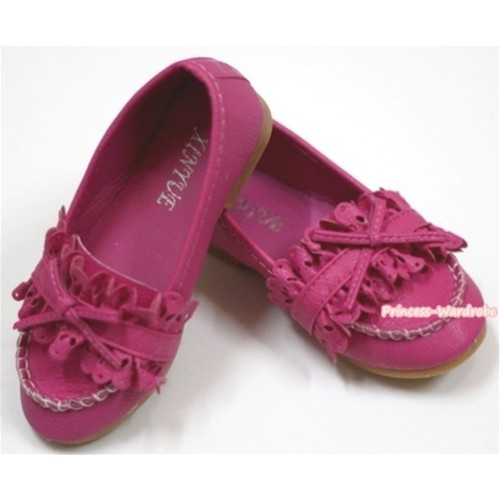 Hot Pink Leather With Ruffles Cute Bow Girl Shoes SE008