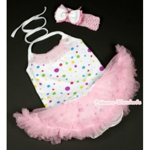 White Rainbow Dots Baby Halter Jumpsuit Light Pink Pettiskirt With Light Pink Lacing With Light Pink Headband White & Light Pink White Dots Ribbon Bow JS855