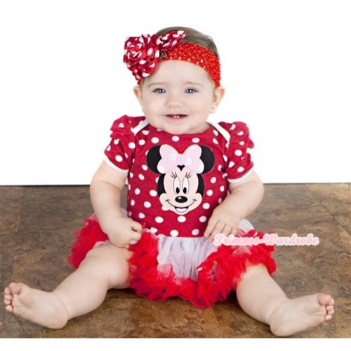 Minnie Dots Baby Jumpsuit White Red Pettiskirt With Light Pink Minnie Print With Red Headband Minnie Dots Rose JS878