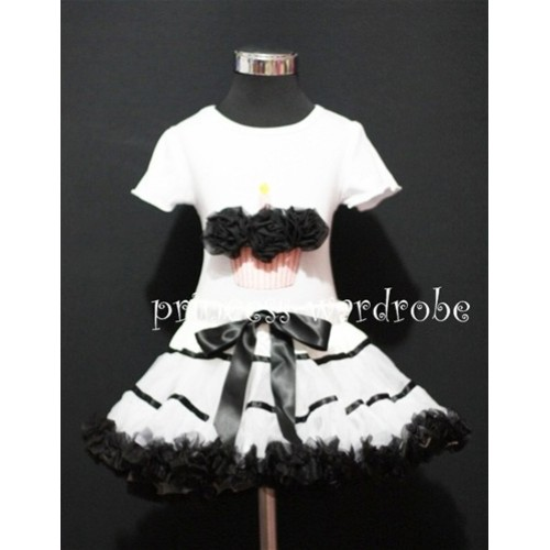 White Black Trim Pettiskirt With White Birthday Cake Short Sleeves Top with Black Rosettes SC53