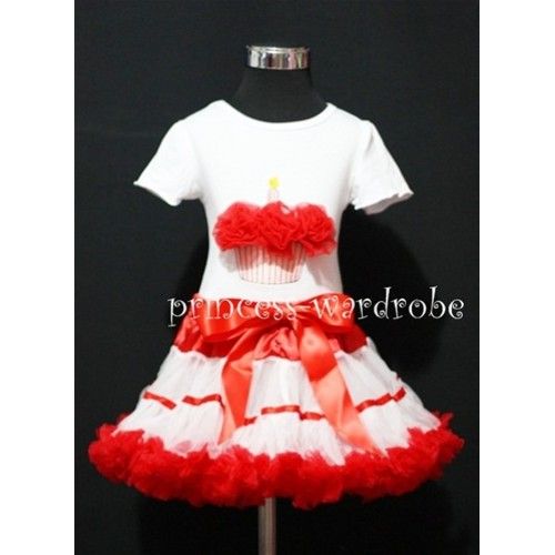 Red White Trim Pettiskirt With White Short Sleeves Top with Red Rosettes Birthday Cake SC63