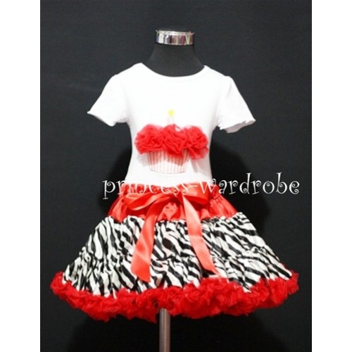 Red Zebra Pettiskirt With White Birthday Cake Short Sleeves Top with Red Rosettes SC67