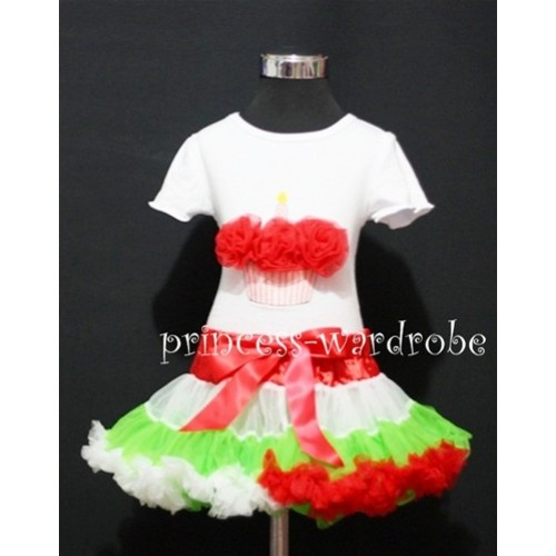 Red White Green Mix Pettiskirt With White Birthday Cake Short Sleeves Top with Red Rosettes SC68