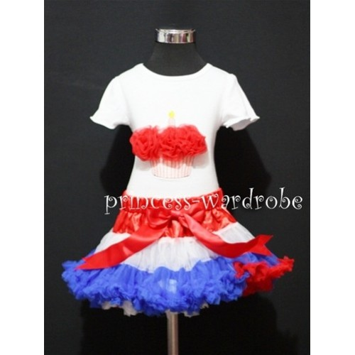 Red White Blue Mix Pettiskirt With White Birthday Cake Short Sleeves Top with Red Rosettes SC69