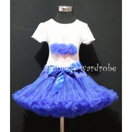 Royal Blue Pettiskirt With White Birthday Cake Short Sleeves Top with Royal Blue Rosettes SC72