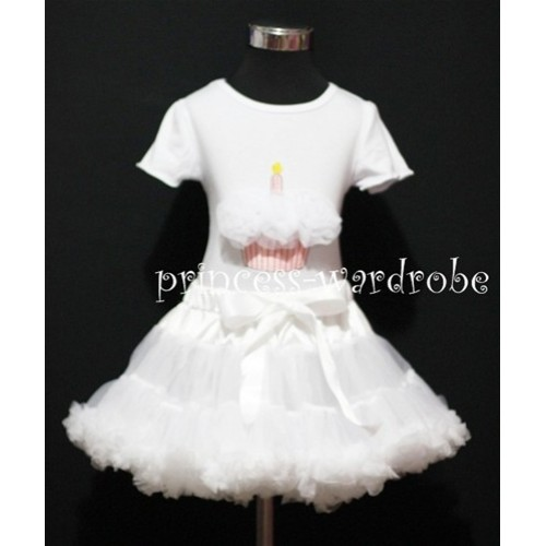 White Pettiskirt With White Birthday Cake Short Sleeves Top with White Rosettes SC73