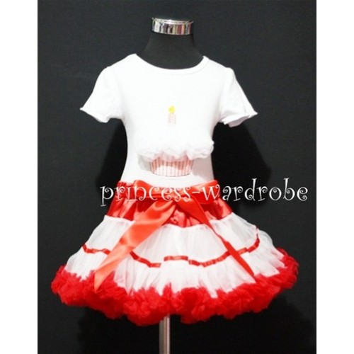 Red White Trim Pettiskirt With White Birthday Cake Short Sleeves Top with White Rosettes SC75
