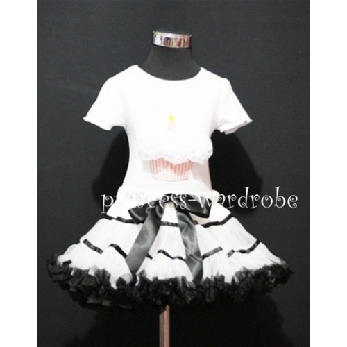White Black Trim Pettiskirt With White Birthday Cake Short Sleeves Top with White Rosettes SC78