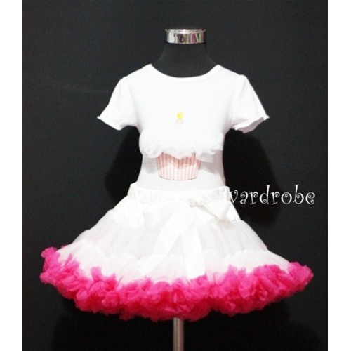 White and Hot Pink Pettiskirt With White Birthday Cake Short Sleeves Top with White Rosettes SC80