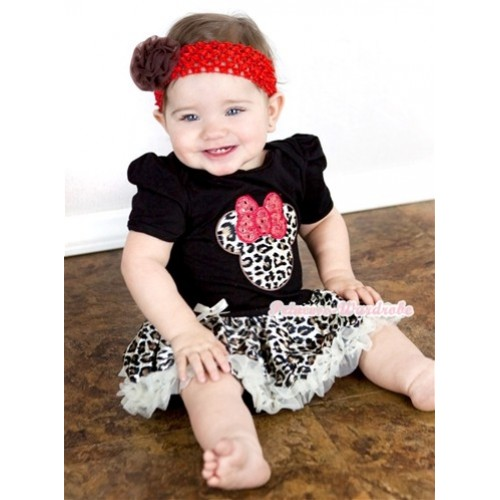 Black Baby Jumpsuit Cream White Leopard Pettiskirt With Leopard Minnie Print With Red Headband Brown Rose JS879