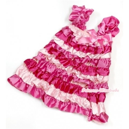 Hot Light Pink Satin Ruffles Layer One Piece Dress With Cap Sleeve With Hot Pink Bow RD013