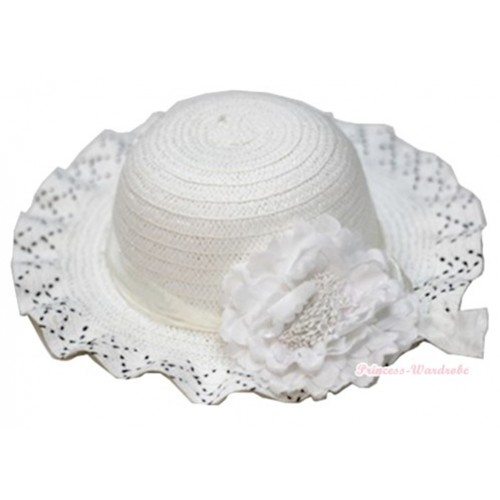 Pure White Black Polka Dots With Cute Bow Summer Beach Straw Hat With White Peony H696