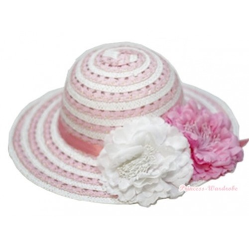 Light Pink White Striped With Light Pink Crytsal Bow Summer Beach Straw Hat With White & Light Pink Peony H697