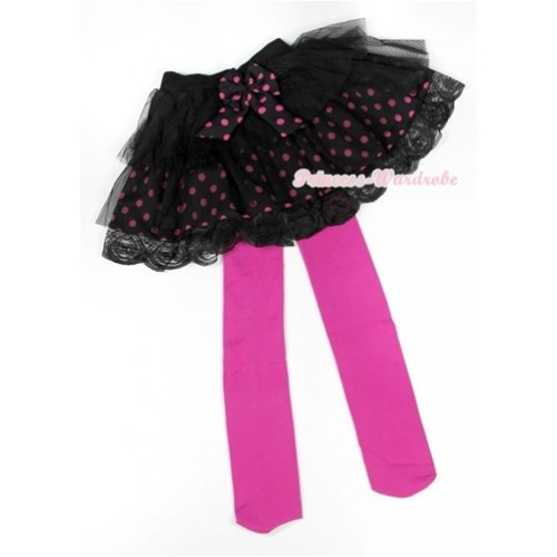 Black Hot Pink Polka Dots Tiered Layer Skirt Dress With Hot Pink Leggings 2PC set B154