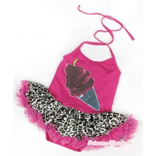 Hot Pink Baby Halter Jumpsuit Hot Pink Leopard Pettiskirt With Sparkle Ice Cream Print JS916