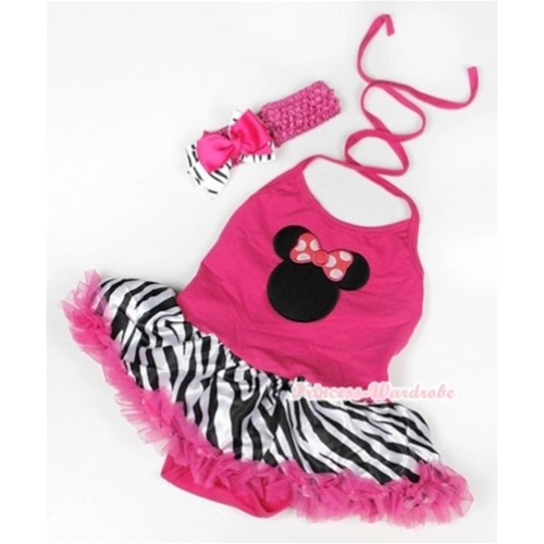 Hot Pink Baby Halter Jumpsuit Hot Pink Zebra Pettiskirt With Hot Pink Minnie Print With Hot Pink Headband Hot Pink Zebra Ribbon Bow JS948