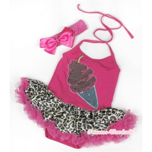 Hot Pink Baby Halter Jumpsuit Hot Pink Leopard Pettiskirt With Sparkle Ice Cream Print With Hot Pink Headband Hot Pink Silk Bow JS931