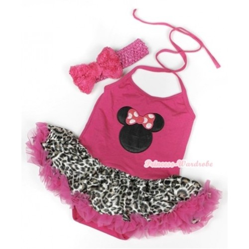 Hot Pink Baby Halter Jumpsuit Hot Pink Leopard Pettiskirt With Hot Pink Minnie Print With Hot Pink Headband Hot Pink Romantic Rose Bow JS937