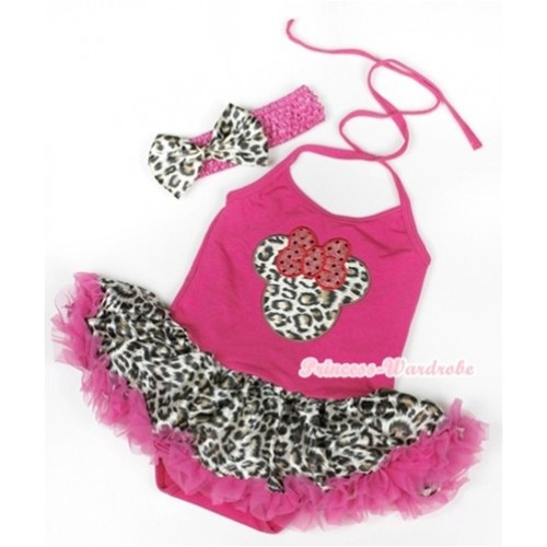 Hot Pink Baby Halter Jumpsuit Hot Pink Leopard Pettiskirt With Leopard Minnie Print With Hot Pink Headband Leopard Satin Bow JS938