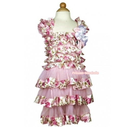 Light Pink Rose Fusion Satin Ruffles Layer One Piece Dress With Cap Sleeve With Light Pink Bow & Bunch Of White Satin Rosettes & Crystal RD030