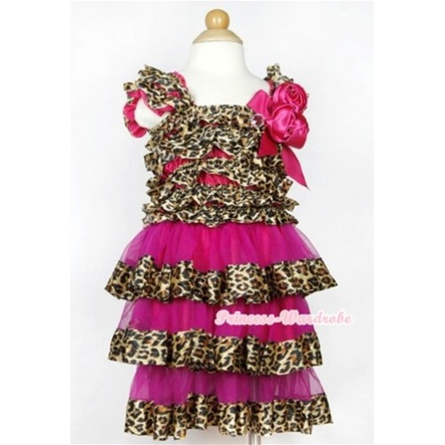 Hot Pink Leopard Satin Ruffles Layer One Piece Dress With Cap Sleeve With Hot Pink Bow & Bunch Of Hot Pink Satin Rosettes & Crystal RD031