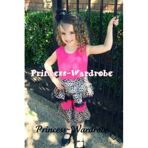 Hot Pink Leopard Mermaid Tutu Ruffles Tank Top With Flared Pant Set P003
