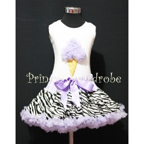 Lavender Zebra Pettiskirt With Lavender Ice Cream White Tank Top MS115