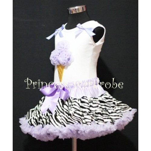 Lavender Zebra Pettiskirt With Lavender Ice Cream White Tank Top with Bows MS214