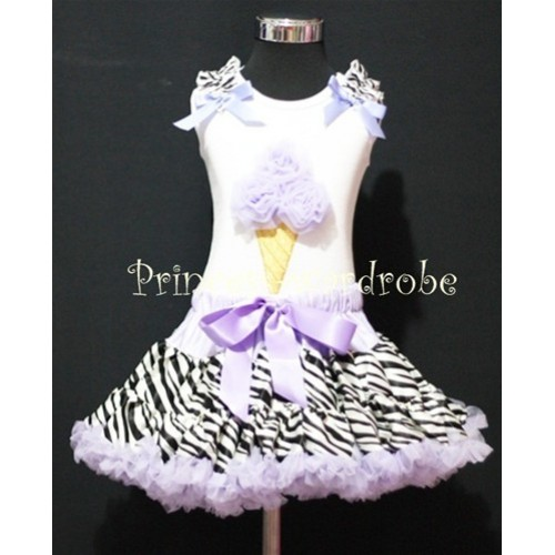 Lavender Zebra Pettiskirt With Lavender Ice Cream White Tank Top with Zebra Ruffles&Bow MS314