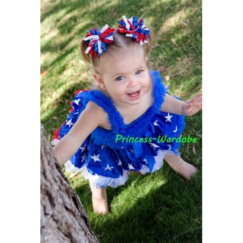 Royal Blue Baby Ruffles Tank Top with Royal Blue Patriotic Star Baby Pettiskirt NR07