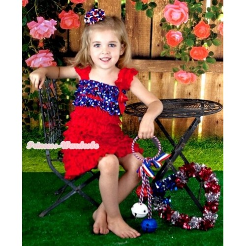 Hot Red Patriotic American Stars Lace Ruffles Layer One Piece Dress With Cap Sleeve With Red Bow RD001