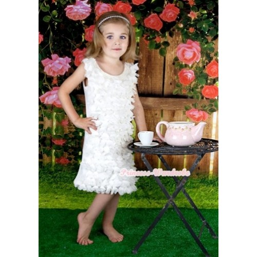 White Rosettes Petal Pearl Elegant Wedding Party Dress PD036