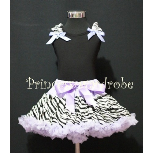 Black Pettitop with Zebra Ruffles Lavender Bow with Lavender Zebra Pettiskirt MW13