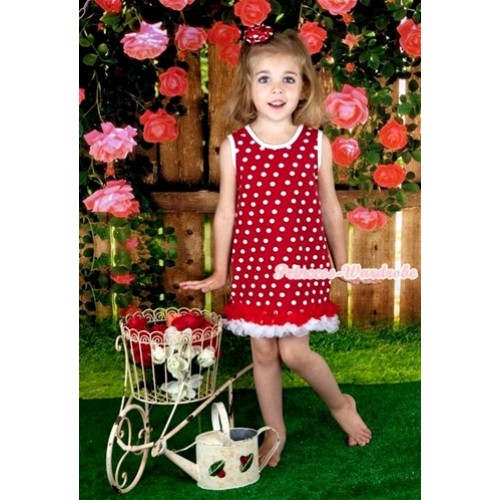 Red White Polka Dots One-Piece Pettidress With Red White Ruffles CD020