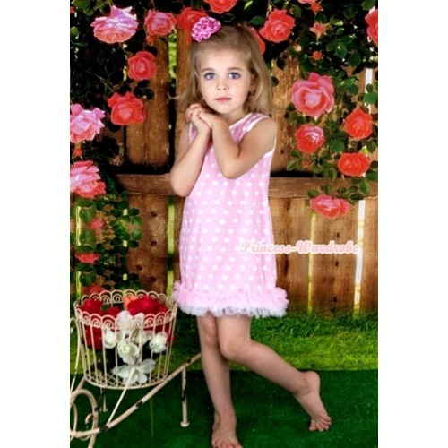 Light Pink White Polka Dots One-Piece Pettidress With Light Pink White Ruffles CD021