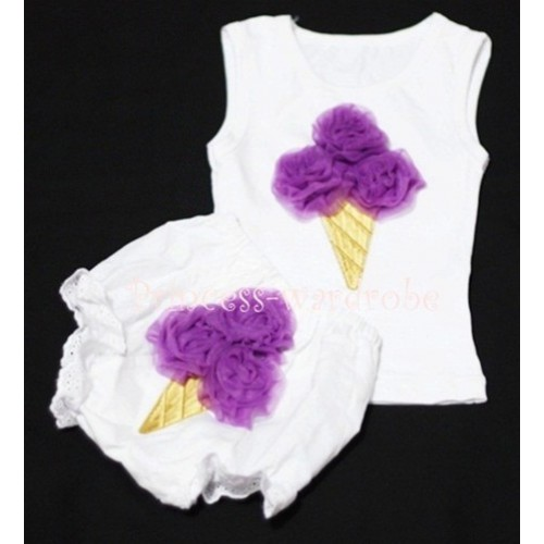 Dark Purple Ice Cream Panties Bloomers with White Baby Pettitop with Dark Purple Ice Cream BC28
