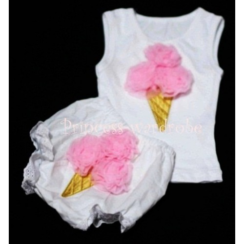 Light Pink Ice Cream Panties Bloomers with White Baby Pettitop with Light Pink Ice Cream BC30
