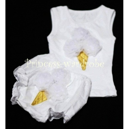 White Ice Cream Panties Bloomers with White Baby Pettitop with White Ice Cream BC31